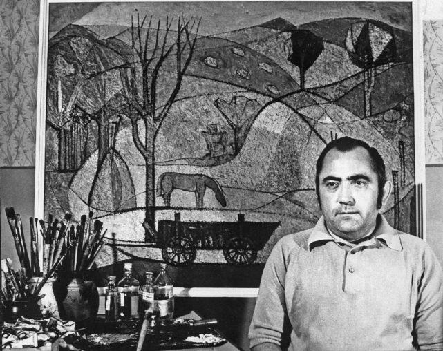 Vencsellei István portréja az Őszi hangulat című festménnyel, 1974